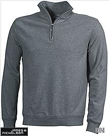 Round-Neck Zip Sweatshirt